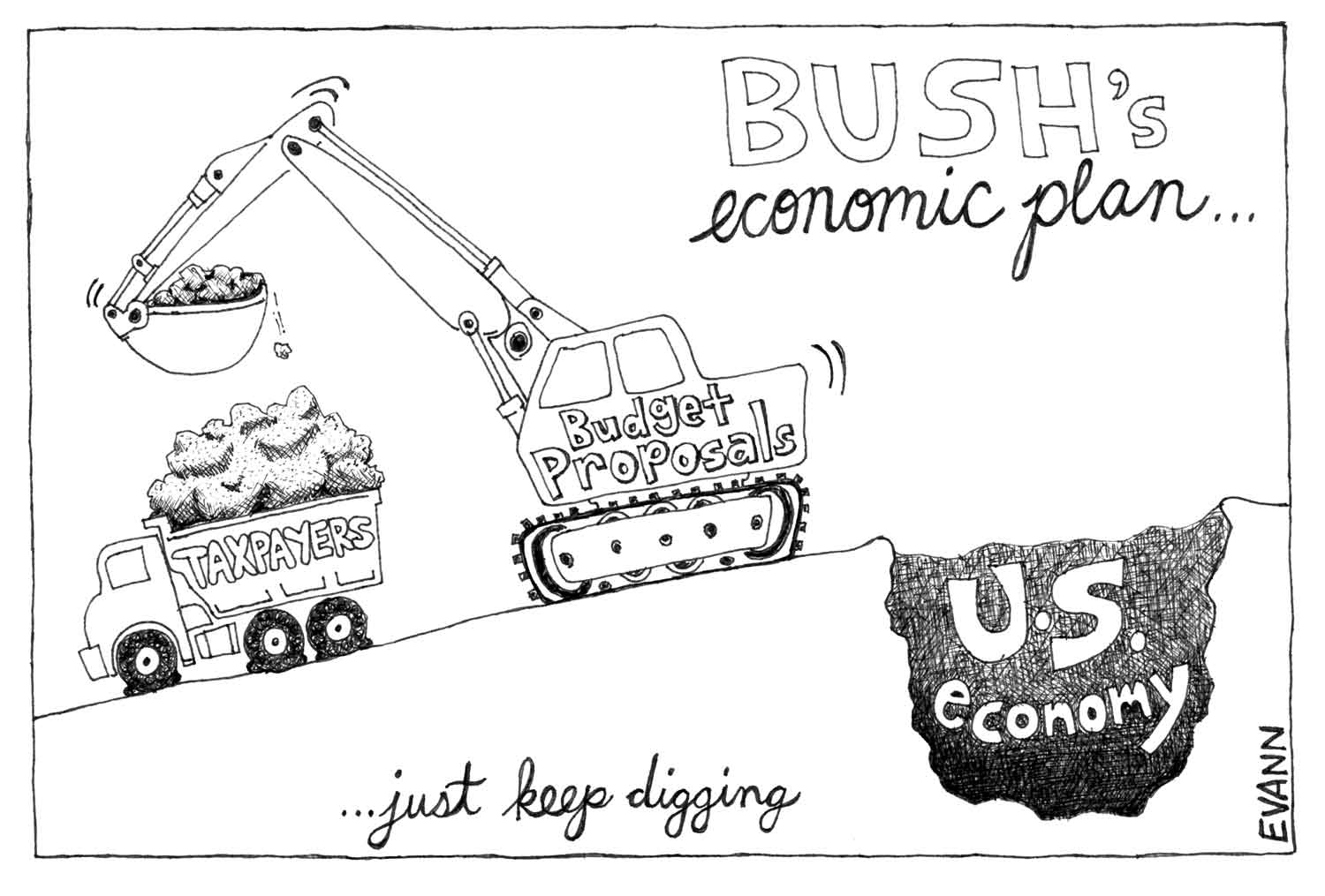 Editorial cartoon: George W. Bush's economic plan? Keep digging.