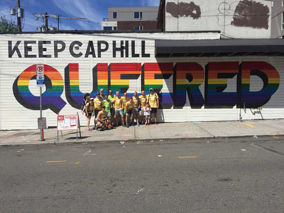 Keep Cap Hill Queered Mural process: Group posing