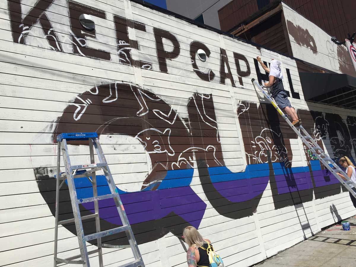 Keep Cap Hill Queered Mural process: Ezra painting